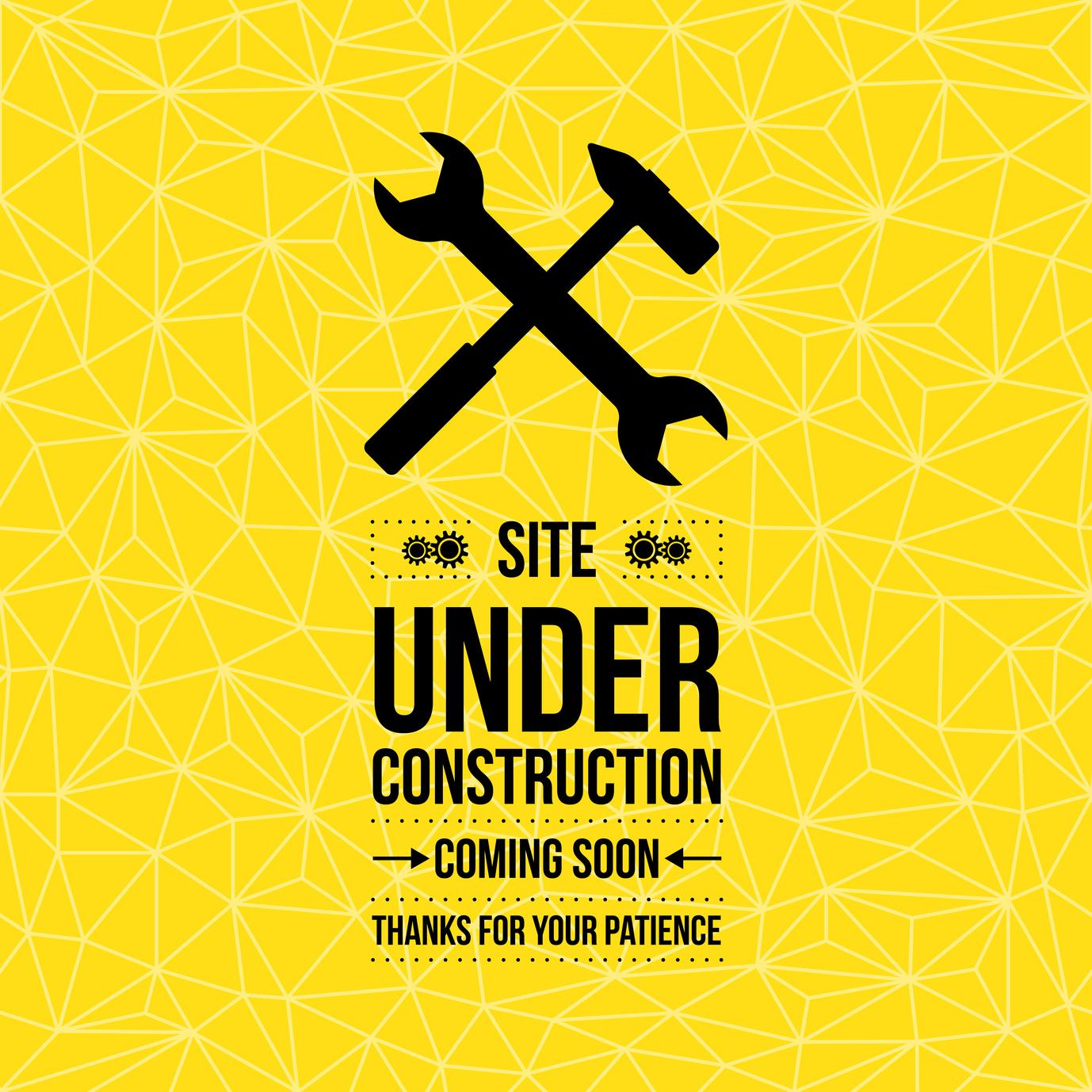Under construction sign, vector illustration, yellow seamless pattern